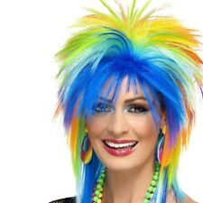 80's Multi Coloured Rainbow Punk Wig 1980s Mullet Fancy Dress Costume Accessory