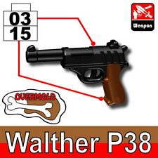 Overmolded P38 (W169) WW2 German Pistol compatible with toy brick minifigures