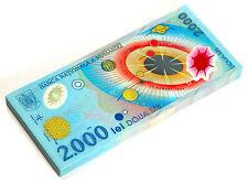 Romanian 2000 (2,000) Lei 1999 Polymer Plastic Banknote Total Sun Eclipse