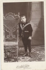 CABINET CARD OF YOUNG BOY IN SAILOR OUTFIT   ORNATE WICKER CHAIR -PROVIDENCE, RI