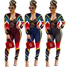 Women Long Sleeve Zipper Patchwork Bodycon Club Party Casual Sports Jumpsuit 2pc