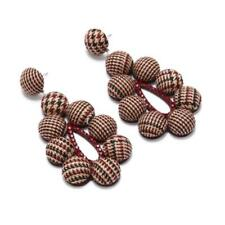 CG2067......LATEST FASHION - FABRIC COVERED EARRINGS - BROWN TWEED - FREE UK P&P