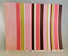 EK Success 2 Chocolate Scrapbook Paper 12x12 Double Sided Stripes Lt Pink Faux