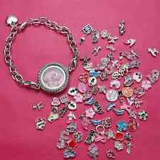 Chic Living Memory Floating Charm Glass Love Locket Charm Silver Plated Bracelet