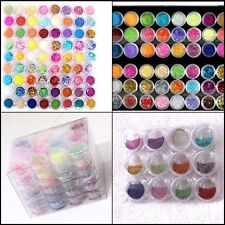 72Pc Nail Polish Art Make Up Body Glitter Shimmer Dust Fairy Diamond Powder Set