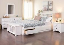 Bed Frames for Queen Size Bed with Storage White Captain Storage Drawer Platform