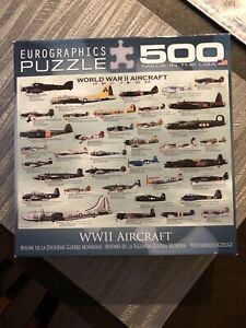 Military WWII Eurographics Puzzle 500 Pc - World War II Aircraft (MO) Pre-Owned