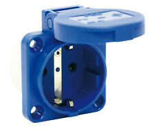 PCE Schuko Einbausteckdose Anbausteckdose Steckdose 16A 230/250V blau 105-0b