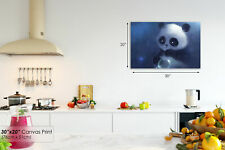 A236 Blue Adorable Panda Cub Bubbles Animal Canvas Wall Art Framed Picture Print
