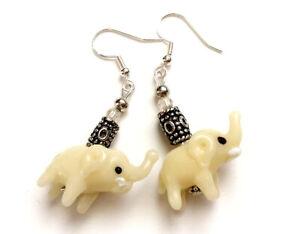 925 Sterling Silver Hook Lampwork Glass Beads Elephant Dangle Earrings (E2002)