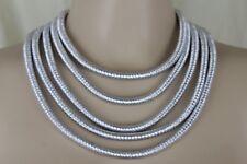 Sexy Women Short Dressy Necklace Fashion Jewelry Set Metallic Silver 5 Strands