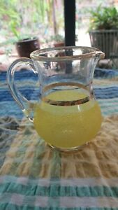 Vintage  50s Frosted Yellow Glass Milk creamer  Jug with Gold Bands