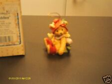 Cherished Teddies _ Bear with Holly on hat Ornament 1992