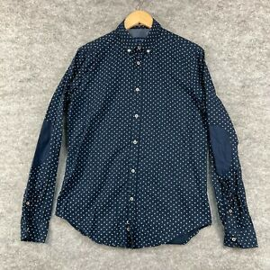 Zara Mens Button Up Shirt Size M Medium Slim Blue Long Sleeve Polka Dot 194.22