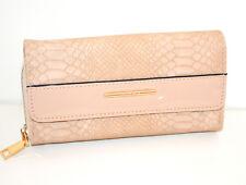 Portefeuille beige femme faux cuir portemonnaie bourse clutch bag zip scarff G28