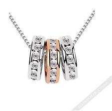 Silber Gold Halskette edel Steine Anhänger Kette Damen Collier Mode LA FERANI