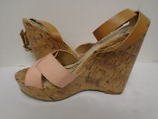 Sam & Libby Womans Pink Ankle Strap Cork Wedges Size 6.M