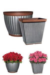 """Galvanized Resin Planter w/ Copper Rim, Indoor/Outdoor 14"""" square or 16"""" round"""