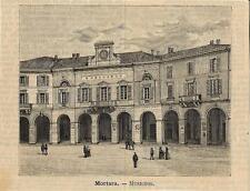 Stampa antica MORTARA Palazzo Municipale Pavia 1891 Old antique print