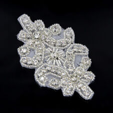 Clear Crystal Rhinestone Beaded Flower Applique Silver Sewing Craft Sew/Iron on