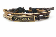Game of Thrones Rope and Leather Adjustable Unisex Charm Bracelet Handmade