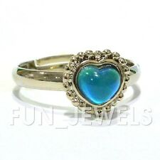 New Lovely Color Changing Small Heart Mood Ring Free Color Chart & Box Vintage
