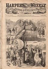1877 Harpers Weekly January 6 - Santa Claus around world;Sleigh outruns wolves