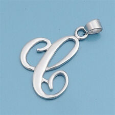 Alphabet Initial Pendant Sterling Silver 925 Rhodium Plated Jewelry Letter C