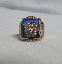 10K Yellow Gold Masonic Ring Blue Mason Compass Size 7-3/4