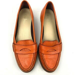 Cole Haan Womens Orange Leather Penny Loafers NikeAir Size 7