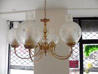 suspension lustre art déco doré et cristal, lustre 6 feux, globe et verre