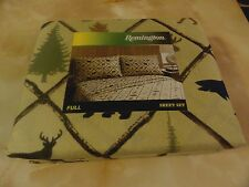 New Outdoor DEER~MOOSE~FISH~BEAR Hunting Cabin 6 piece FULL Sheet Set Brown~Tan