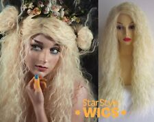 DELUXE LONG BLONDE CURLY CRIMPED FAIRY MAIDEN MERMAID QUEEN COSPLAY COSTUME WIG