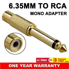 """6.35mm 1/4"""" Male to RCA Female Mono Audio Jack Adapter Converter Connector AU"""