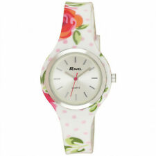 Ravel Ladies Girls White Pink Floral Soft Silicone Strap Watch R1806.4