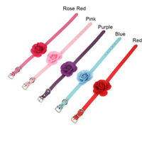 Cute Small Pet Collar Cat Dog Puppy Flower Leather Adjustable Necklace Collars