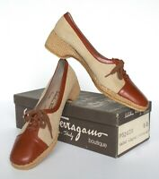Salvatore Ferragamo Fabric / Leather Brown Lace-Up Shoes UK 6  / 39  (Narrow)