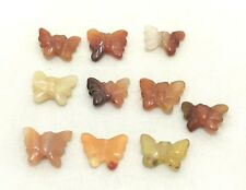 Natural CARNELIAN carved butterfly bead / strand 15mm(w) x 13mm(l) - 10 beads