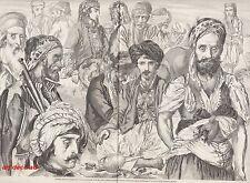 GRAVURE TURQUIE PORTRAITS TYPES ET COSTUMES TURCS TURKEY   1856 -1H