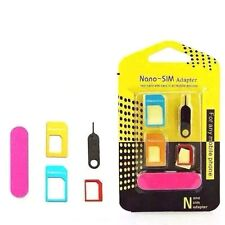 NANO TO MICRO & STANDARD SIM CARD ADAPTER 5 IN 1 PACK ANY Mobile PHONE NEW UK