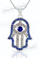 Collar de Hamsa Mano de Dios AZUL Evil encanto del ojo colgante Judaica judío