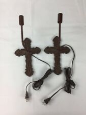 Cast Iron Brown Cross  Sconces by Lowry Electric,