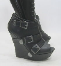 """NEW Black 5.5"""" High Wedge Heel 1.5"""" Platform Open Toe Sexy Ankle Boot Size 6.5"""