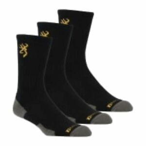 Browning Gold Buckmark Men's Black Socks - 3 Pair Everyday Crew Work Boot Socks