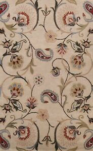 Floral Oriental Area Rug Wool Hand-Tufted Contemporary 5x8 ft New Ivory Carpet