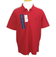 New IZOD Men's Large Solid Red Short Sleeve Polo Shirt Quick Dry Golf Tennis NWT