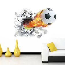 3D Décor DIY football Mur cassé Autocollants de mur fond maison salon #