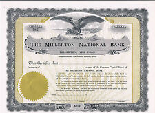 Unissued Share Certificate The Millerton National Bank $100 aUNC New York