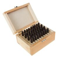 36 Piece Stamping Punch and Die Letter and Number 1/8 Inch Set Wood Case