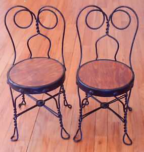 "Pair of 21"" Tall Antique ""Ice Cream Parlor"" Twisted Iron Chairs"